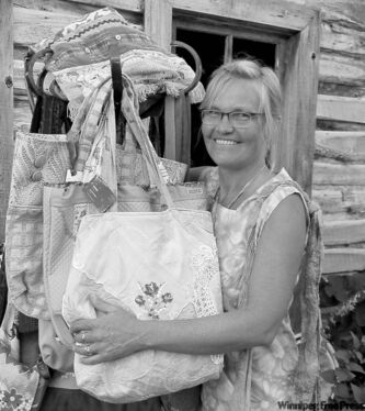 Joyce Kehler Hildebrand raises funds by making and selling tote bags.