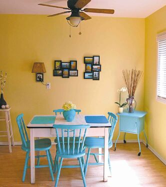 Utilizing bright colours, Connie Oliver transformed an old dining room table and a set of wooden chairs into a cheery dining set.