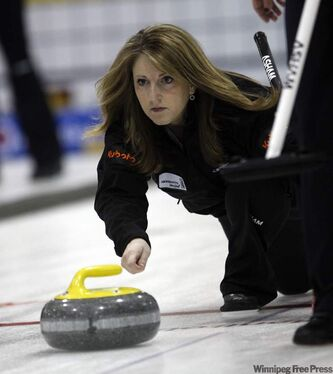 Jill Thurston shoots against Chelsea Carey at Altona's Millennium Exhibition Centre in Scotties Tournament of Hearts.