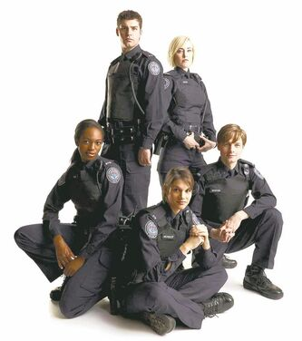 UNDATED -  Rookie Blue (L-R) Actors Enuka Okuma, Travis Milne, Missy Peregrym, Charlotte Sullivan, Gregory Smith PHOTO CREDIT: � Edward Gajdel 2010  For Kat Angus (Dose.ca). CNS-TV-ROOKIE-BLUE