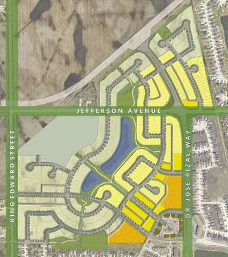 Phase One of Waterford Green, with the village centre located in the bottom right hand corner.  The first phase will feature 219 single-family homes, 106 townhomes and nine acres of apartment-style homes  to choose from, at a variety of price points.