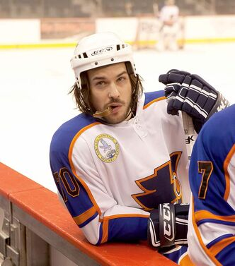 Marc André Grondin as a star hockey player in Goon.