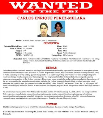 "This image provided by the FBI shows the wanted poster for Carlos Enrique Perez-Melara. Among five individuals added this week to the FBI's list of ""most wanted"" cybercriminals is Perez-Melara, a former San Diego college student who developed an $89 program dubbed"