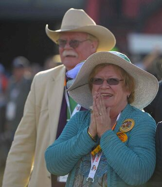 California Chrome owner Steve Coburn with his wife Carolyn after their horse won the Preakness at Pimlico Race Course in Baltimore on May 17. (MUST CREDIT: Washington Post photo by