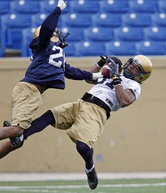 Cory Watson makes a circus catch on Wednesday in cool , windy conditions while being covered by Deon Beasley during the Blue Bomber Mini Camp at Canad Inn Stadium.