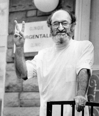 Dr. Henry Morgentaler gives the victory sign in Montreal on June 9, 1983. Morgentaler, who helped overturn the abortion law 25 years ago, died Wednesday.