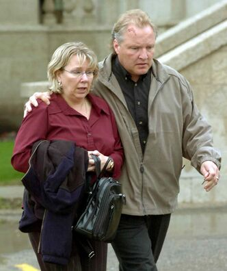 Debbie and Darcy Chorney leave the Brandon Court House during a recess in the murder trial of Michael Bridges in 2005.