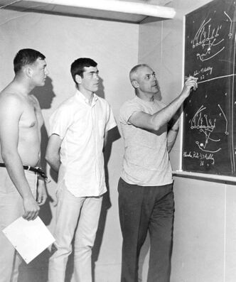 Gordon Sinclair Jr. (middle) listens attentively to Blue Bomber coach Bud Grant in 1966.