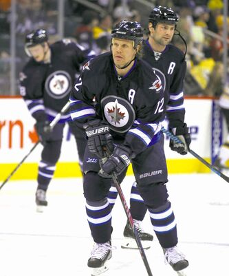 Olli Jokinen moved up from 10th in scoring on the Jets roster in 2013 to fifth this season with 42 points.