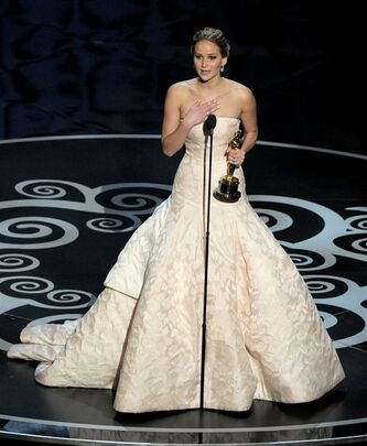 Jennifer Lawrence accepts the award for best actress in a leading role for