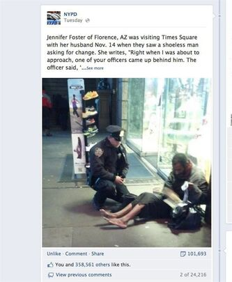 This screen shot taken from the NYPD Facebook page Thursday Nov. 29, 2012 shows a photo taken by Arizona tourist Jennifer Foster of New York City Police Officer Larry DePrimo presenting a barefoot homeless man in New York's Time Square with boots on Nov. 14, 2012. Foster was visiting New York with her husband on Nov. 14, when she came across the shoeless man asking for change in Times Square. As she was about to approach him, she said the officer came up to the man with a pair of all-weather boots and thermal socks on the frigid night. She took the picture on her cellphone. It was posted Tuesday night to the NYPD's official Facebook page and became an instant hit. More than 350,000 users