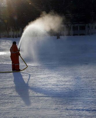 Cold is a good thing, if you're making outdoor ice for community centres and park rinks. City worker Fred Wilde put water on the Central Park outdoor rink in -21 C weather Tuesday.