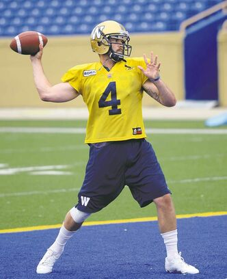 cole breiland / winnipeg free press Bombers quarterback Buck Pierce 'had a good day' at practice Monday, coach Paul LaPolice said.
