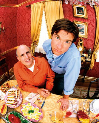 Jason Bateman as Michael Bluth and Jeffrey Tambor as George Bluth, Sr.