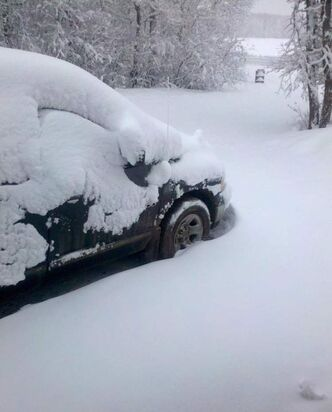 Michelle Allison snapped this shot of deep snow outside of Dauphin around 7:30 Tuesday morning.