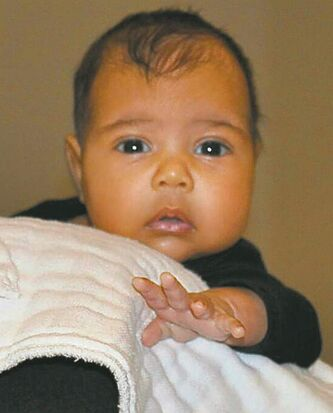 North West, two-month-old daughter of Kanye West and Kim Kardashian.