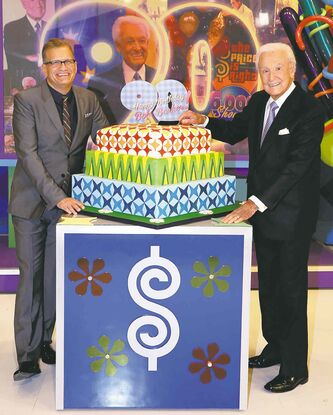 Bob Barker, left, and Drew Carey on the set of The Price is Right.