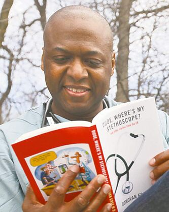 Donovan Gray MD with his book, 'Dude, Where's My Stethoscope? and Other Stories from the ER.'