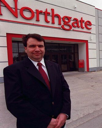 Theatre manager Terry Stannard is seen in front of the Cinema City 8 at Northgate Plaza when it opened in May 1998.