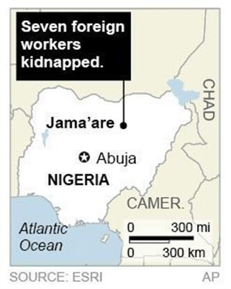 Map locates kidnapping, Nigeria