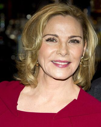 Kim Cattrall attends a press event to promote her role in the new Broadway production of Noel Coward's