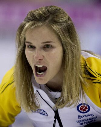 Manitoba skip Jennifer Jones calls a shot during an afternoon draw against Newfoundland and Labrador at the Scotties Tournament of Hearts in Red Deer, Alta., on Monday. Manitoba won 8-5.