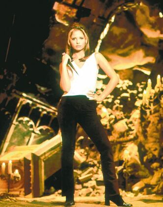 Sarah Michelle Gellar as Buffy Summers in Buffy the Vampire Slayer.