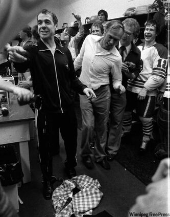 Tom McVie's plaid sports jacket was a victim of a champagne-soaked dressing-room celebration May 20, 1978, when the Jets won the Avco Cup for the second time.