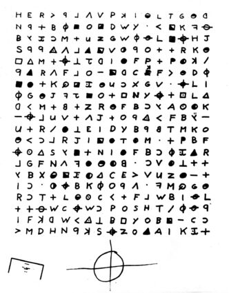 A cryptogram sent to the San Francisco Chronicle, Nov. 11, 1969, by the Zodiac Killer.