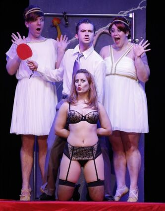 This theater publicity image released by David Gersten & Associates shows clockwise from top left, Alex Gonzalez, Matthew Brian Bagley, Tina Jensen and Laurie Elizabeth Gardner during a performance of