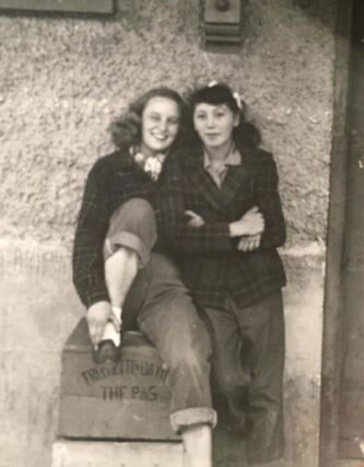 <p>Supplied</p><p>Christianson (right) with a school friend.</p>