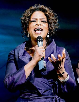 Oprah Winfrey reflects on the performance of the cast of the Braodway musical The Color Purple during the curtian call after the musical's Chicago premier, Thursday, May 3, 2007. (AP Photo/Charles Rex Arbogast) closecut close cut