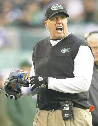 New York Jets head coach Rex Ryan reacts during the second half of an NFL football game against the San Diego Chargers, Sunday, Dec. 23, 2012, in East Rutherford, N.J. (AP Photo/Kathy Willens)