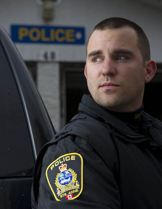 Sainte-Anne Police Officer Jordan Taman in Sainte-Anne, MB on Friday.