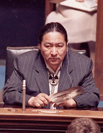 In June 1990, Elijah Harper repeatedly refused to stand to give consent to the passage of the Meech Lake accord by the Manitoba legislature. He held an eagle feather for spiritual reasons.