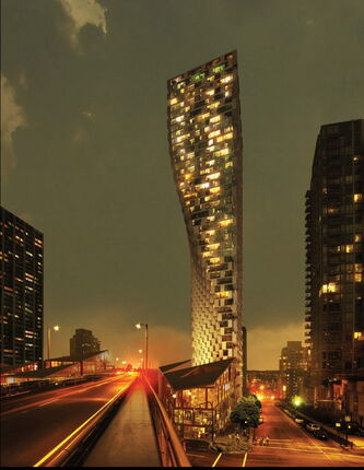 VANCOUVER, B.C. -- Rendering of Westbank Projects Corporation's Vancouver House. Vancouver House's most distinctive feature is the 52-storey curving and cantilevered residential tower by the Howe Street on ramp to the Granville Street Bridge.