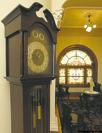 Grandfather clock next to the Cosy Corner in St. Mary's Academy.