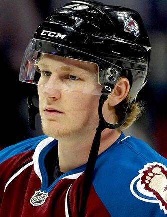 Colorado Avalanche rookie center Nathan MacKinnon warms up before facing the Anaheim Ducks in an NHL hockey game in Denver, Wednesday, Oct. 2, 2013. (AP Photo/David Zalubowski)