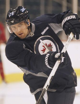 Blake Wheeler at  training camp in Winnipeg on Tuesday.
