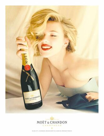 UNDATED � Actress Scarlett Johansson is featured in ad campaigns for Moet & Chandon. (Photo courtesy Moet & Chandon Champagne) FOR POSTMEDIA NEWS TRAVEL PACKAGE, SEPTEMBER 26, 2011.
