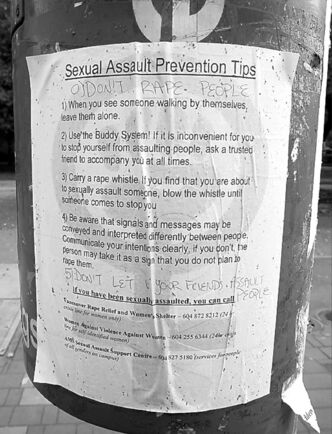 A poster offers tips on fending off a sexual assault.