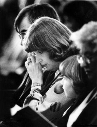 Wilma Derksen weeps at daughter Candace's funeral on Jan 24, 1985.
