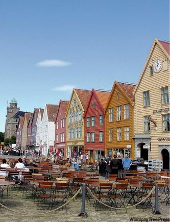 Wooden buildings line the main street of Bergen, home to some of the freshest fish you'll eat.
