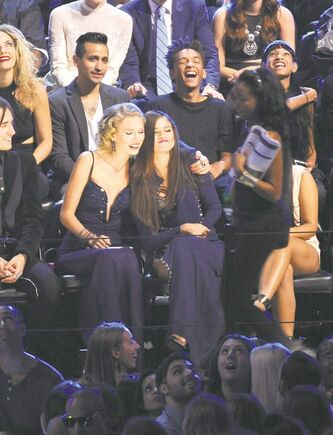 Taylor Swift, centre left, and Selena Gomez at the MTV Video Music Awards.