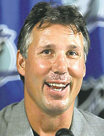 Former Tampa Bay Lightning captain Dave Andreychuk smiles during a news conference Thursday afternoon, Sept. 28, 2006, in Tampa, Fla., after it was announced he will rejoin the team as a community representative. Andreychuk, who has officially retired as a player, played in 1,639 games in his career and is the NHL's all-time leader in power-play goals. (AP Photo/Chris O'Meara)