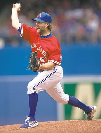 Blue Jays starting pitcher R.A. Dickey is tossing his fastest pitches of the year.