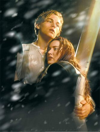 "In this film image released by Paramount Pictures, Leonardo DiCaprio, left, and Kate Winslet are shown in a scene from the 3-D version of James Cameron's romantic epic ""Titanic."""