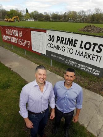Ryan Skrabyk (left) and Tony Bagnulo are developing 386 Beaverbrook Street, a new 30-home development  to be built on the former Sir John Franklin school property in North River Heights.