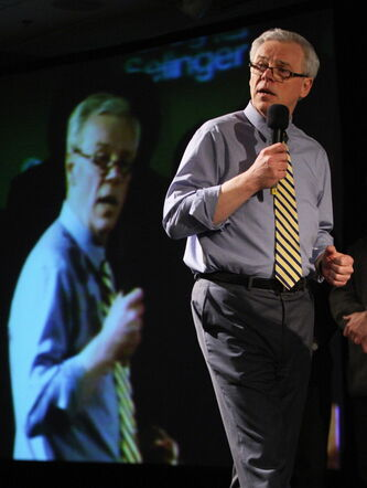 Premier Greg Selinger addresses the Manitoba NDP annual meeting Friday. He vowed a vigorous fight against the Conservatives in the next election.