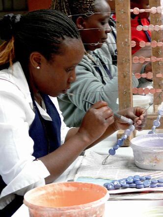 Workers paint ceramics at Kazuri. The Swahili word for 'small and beautiful' is the name of a ceramic jewelry factory and store that employs more than 340 women -- mostly single moms in Nairobi. The workshop provides free medical care to the women and their immediate families. The products they make are sold around the world --  including in Winnipeg at Ten Thousand Villages stores.